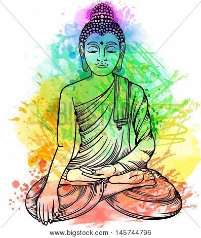 Buddha Gautama With Multicolor Rainbow Aura.vector Illustration. Vintage Decorative Line Art Zentang