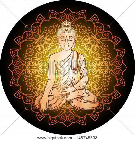 Buddha Gautama With Gold Filigree Mandala Vector Illustration. Vintage Decorative Zentangle Hand Dra