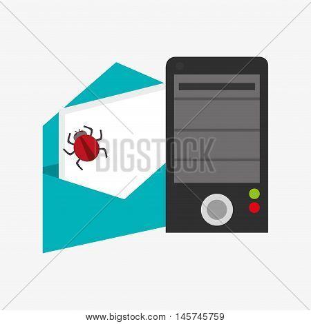 computer server and envelope with bug virus representation system security design