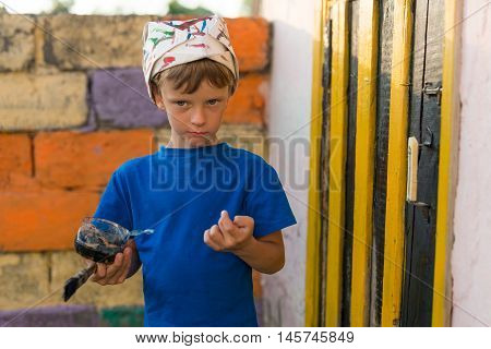 Boy Performs Painting Works Paint Outdoors Summer