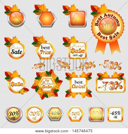 Set of autumn sale stickers with yellow and orange maple leaves in different shapes. Vector illustration