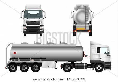 Fuel gas tanker truck template. Vector isolated car. Truck trailer on white background