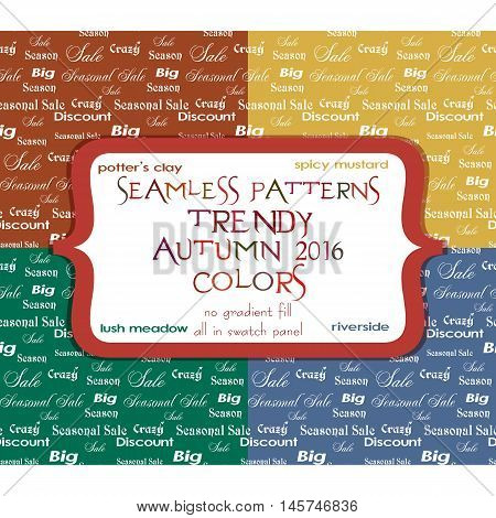 Set of seamless ornamental sale patterns with writing of seasonal sale and discounts in four colors. Vector illustration