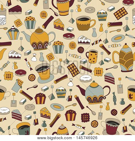 Seamless pattern with hand drawn sketchy tea theme related elements. Coffee break design background with teapot. Doodle cafe decoration. Stylish texture. English tea colorful print with cup and sweets