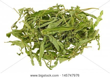 Dried Stevia leaves (sweet leaf, Sugar leaf) a sweetener and sugar substitute isolated on white background