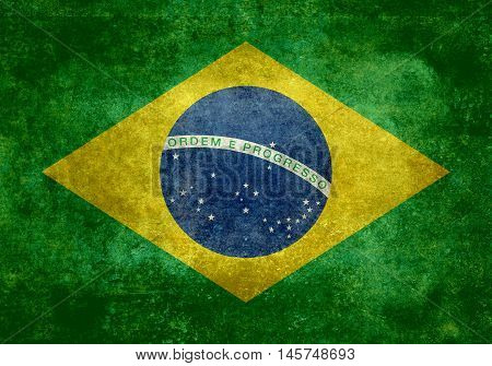 Brazilian national flag with distressed vintage textures