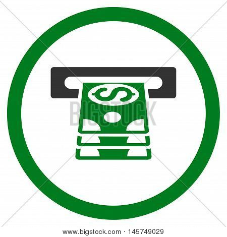 Bank Cashpoint rounded icon. Vector illustration style is flat iconic bicolor symbol, green and gray colors, white background.