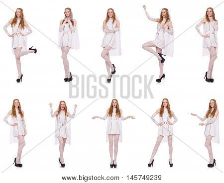 Pretty lady in light charming dress isolated on white poster