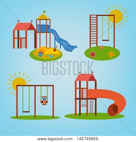Beautiful children playground set. Vector illustrations in bright blue, green, yellow and orange colours in cartoonish style.