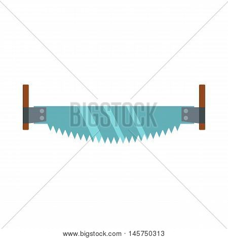 Two-man saw icon in flat style isolated on white background. Tool symbol vector illustration