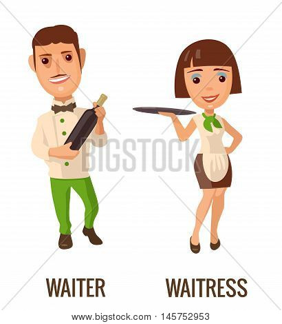 Waiter with bottle wine. Waitress with tray. Vector flat illustration isolated on white background