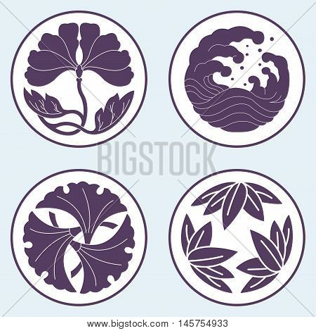 Flower And Wave And Leaf Lotus Flat Simlpe Vector Illustraton