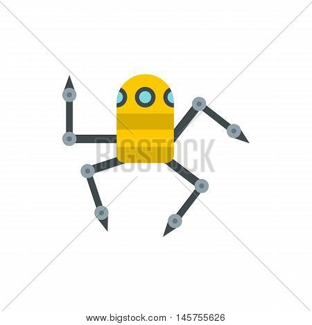 Robot spider icon in flat style isolated on white background. Technology symbol vector illustration