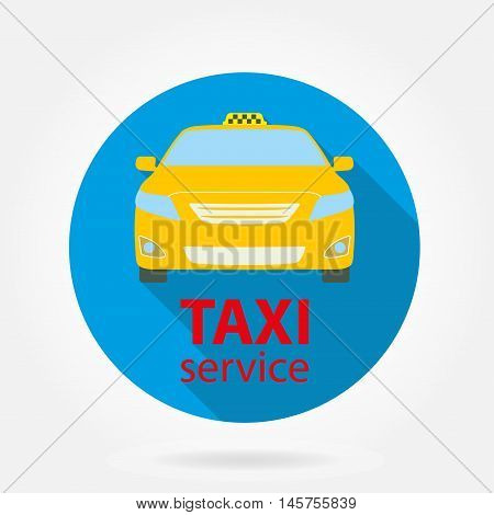 Taxi service flat icon isolated on white background. Taxi car or vehicle. Colorful vector illustration.