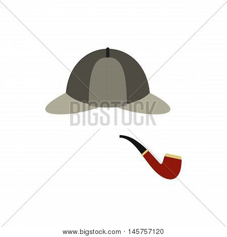 Hat and pipe icon in flat style isolated on white background. Headgear symbol vector illustration