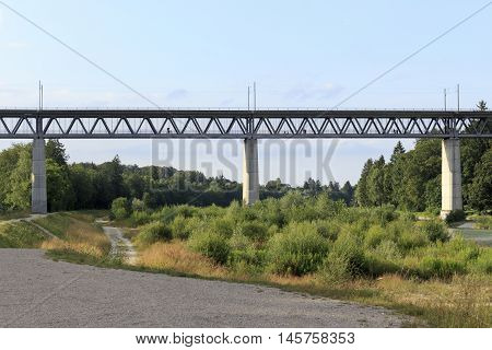 A bridge at the isar in munich Germany