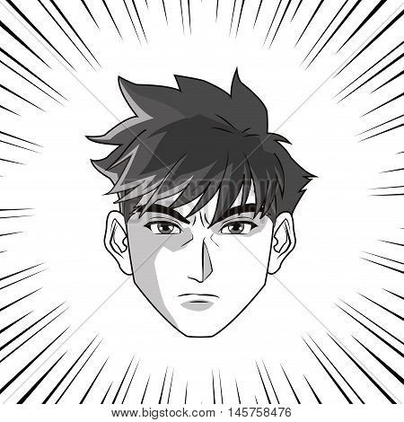 Anime boy or man cartoon icon. Manga and comic design. Black and white design. Vector illustration