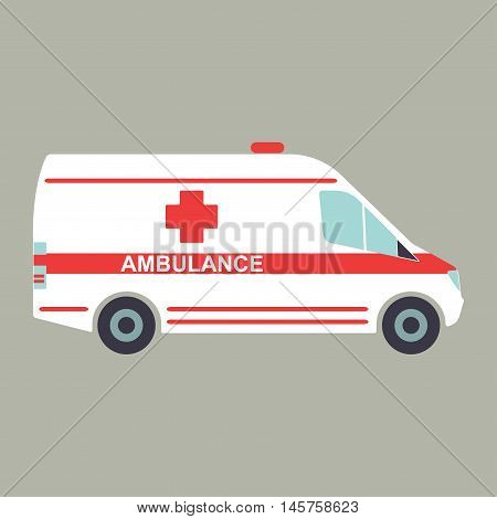 Ambulance icon. Ambulance car in flat style. Vector illustration.
