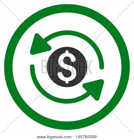Money Turnover rounded icon. Vector illustration style is flat iconic bicolor symbol, green and gray colors, white background.