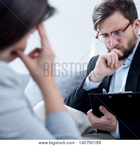 Psychiatrist Talking With Despair Businesswoman