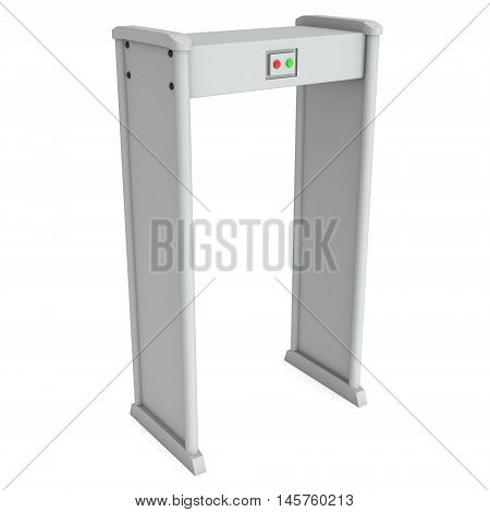 Safe area security gates with metal detectors. Metal detector scanner. 3D render illustration isolated on white. Walk through detector concept.