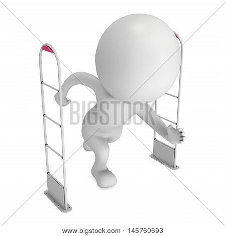 3D shoplifter scanner and running man isolated on white background. Scanner entrance gate for prevent theft in shop or store. Security concept.