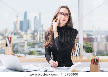 Cheerful Female Working In Office