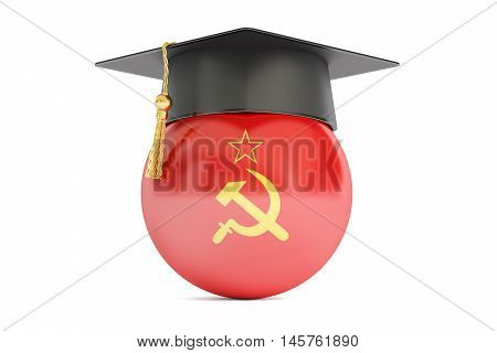 education in USSR concept 3D rendering isolated on white background