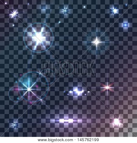 Set of vector stars and shiny sparkles