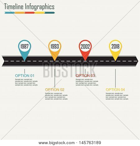 Timeline Infographics template with arrow from asphalt road. Horizontal design elements. Traffic concept. Colorful vector illustration.