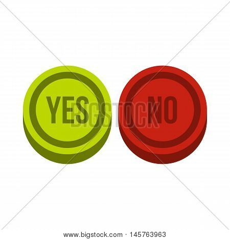 Round signs yes and no icon in flat style isolated on white background. Click and choice symbol vector illustration