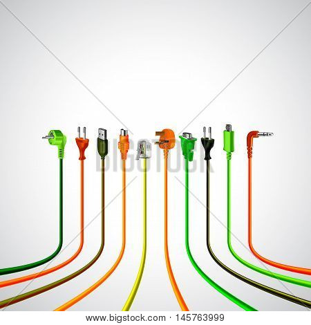 Colorful plug wire cables in perspective view vector background