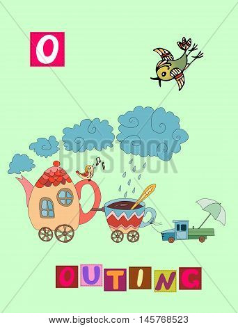 Tea History. Cute Cartoon English Alphabet With Colorful Image And Word. Kids Vector Abc. Letter O.