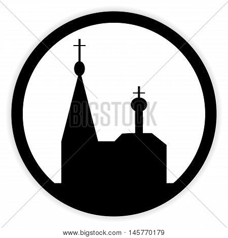 Orthodox church button on white background. Vector illustration.