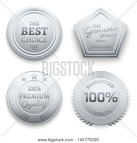 Polished silver metal premium vector sticker, tag, label, badge. Guarantee and quality certificate illustration