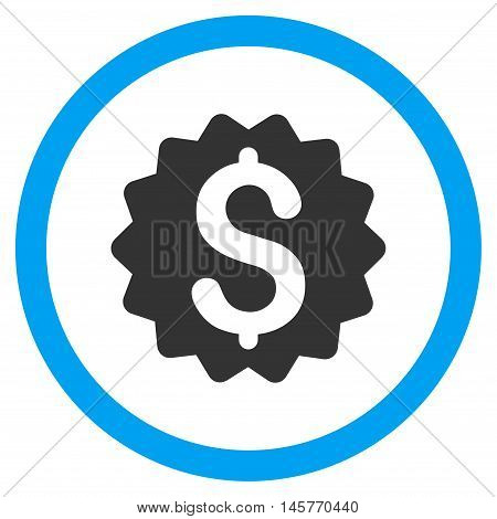 Financial Reward Seal vector bicolor rounded icon. Image style is a flat icon symbol inside a circle, blue and gray colors, white background.