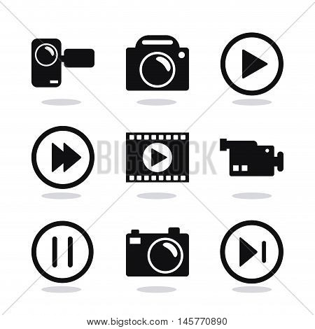 videocamera play and camera icon. Video movie cinema and media theme. Black and white design. Vector illustration