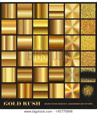 Gold Rush - set of gold gradients, golden glitter backgrounds and seamless borders