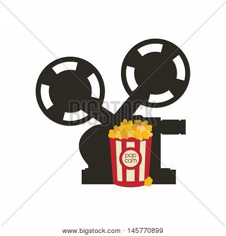 videocamera pop corn film cinema movie entertainment show icon. Flat and Isolated design. Vector illustration