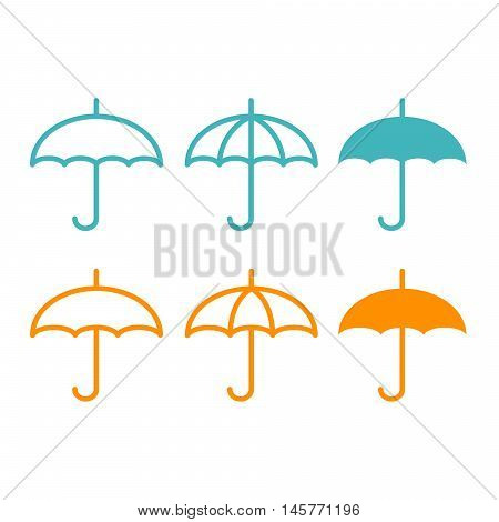 Flat icon umbrella, isolated on the white background.