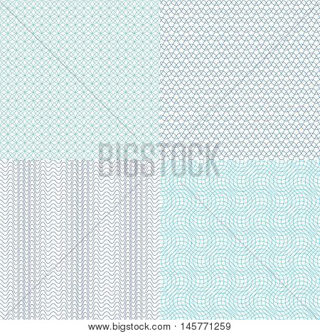 Guilloche wavy vector textures for diplomas, currency, banknotes and vouchers. Structure continuity watermark illustration