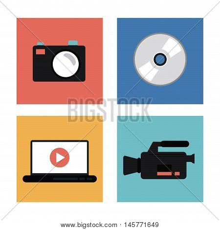 videocamera camera laptop play and cd icon. Video movie cinema and media theme. Colorful design. Vector illustration