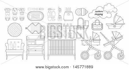 Retail and wholesale kids store. Cribs, baby stroller, childrens clothing, toys and other baby stuff for a newborn. Vector kids store set in lineal style.