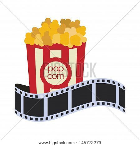 pop corn film strip cinema movie entertainment show icon. Flat and Isolated design. Vector illustration