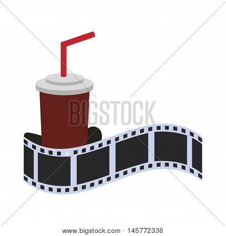 film strip soda cinema movie entertainment show icon. Flat and Isolated design. Vector illustration
