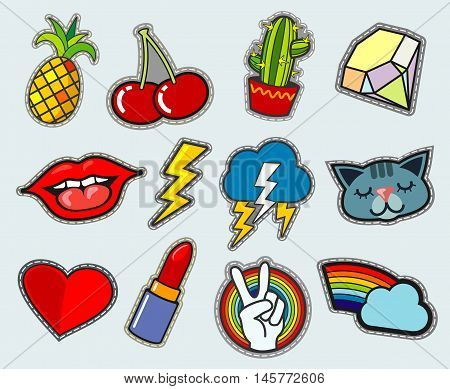 Cartoon patch badges vector stock. Peace and love, cactus and cherry illustration