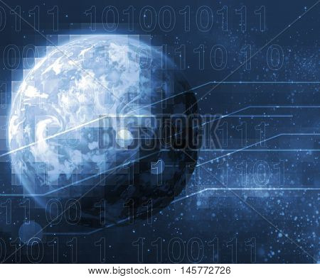 digital world, with sunrise on the background with integrated bits and bytes