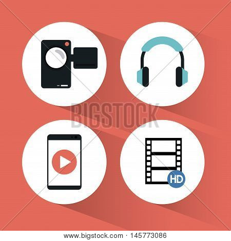 videocamera smartphone headphone and film icon. Video movie cinema and media theme. Colorful design. Vector illustration