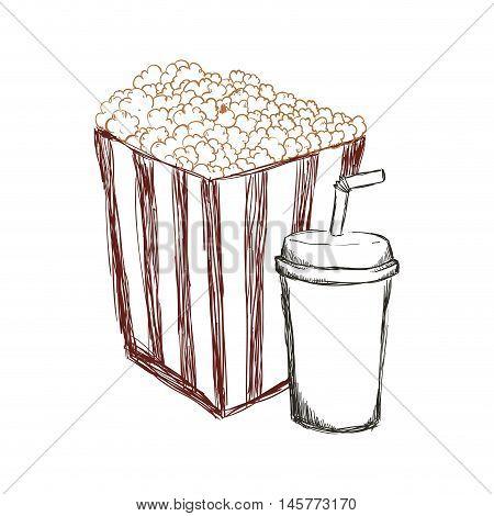 pop corn soda film cinema movie entertainment show icon. Sketch and Isolated design. Vector illustration