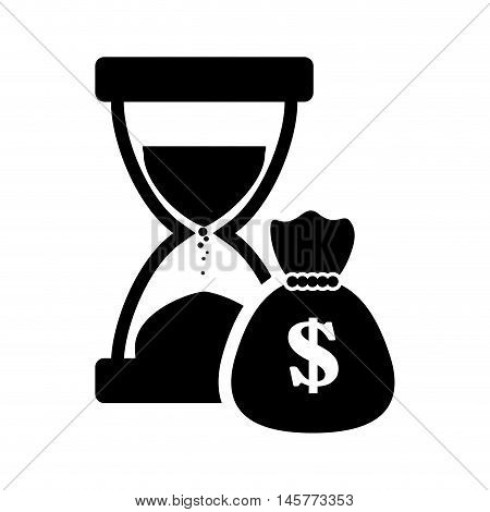 hourglass money bag business financial item icon. Flat and Isolated design. Vector illustration